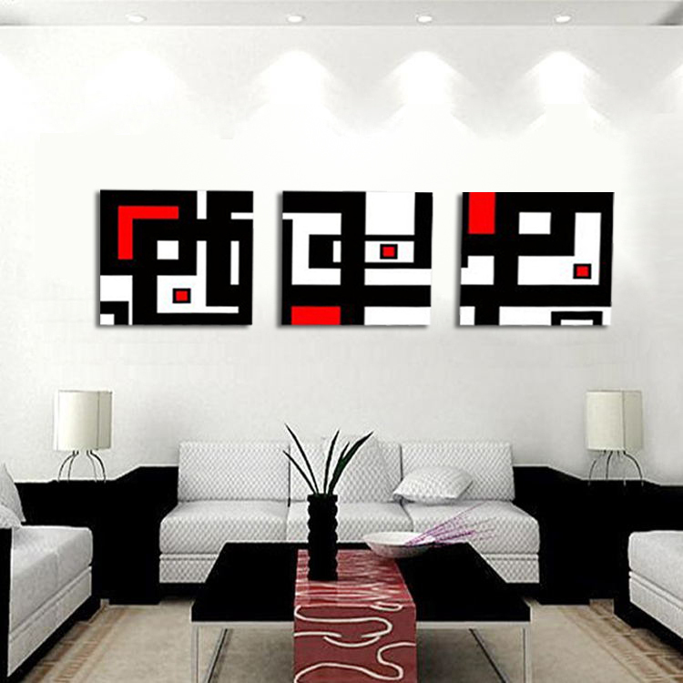 Hot sell modern abstract wall painting black red and white for Modern black and white wall art