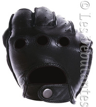 MEN'S BLACK LEATHER FINGERLESS DRIVING GLOVES FREE SHIPPING(China (Mainland))