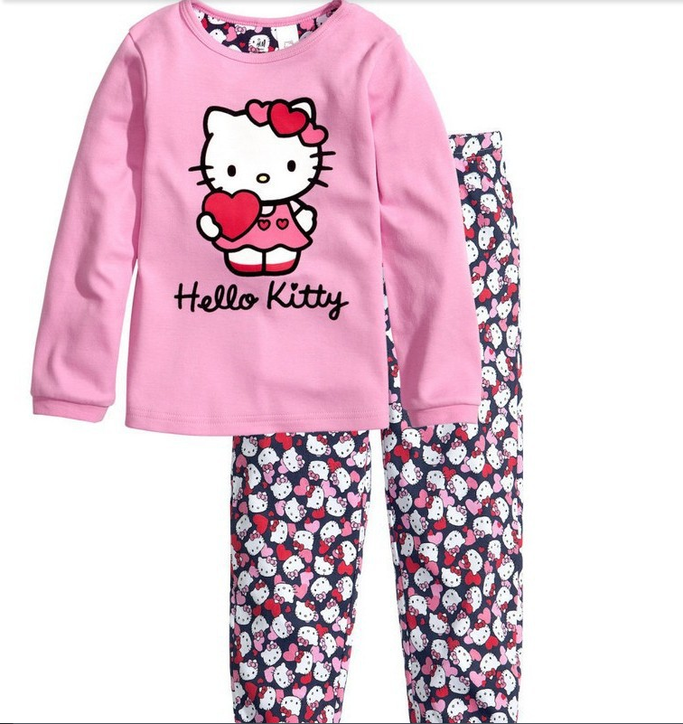 2014 Hello Kitty Children Baby Boys Girls Kids Clothing New arrive autumn wint Clothes Sets suits 2 pcs sleepwear cartoon long(China (Mainland))