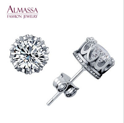 Almassa Fashion Jewelry Silver Cut Round Shape AAA+ Cubic Zirconia Diamond Small Stud Earrings for Women Free Shipping(China (Mainland))