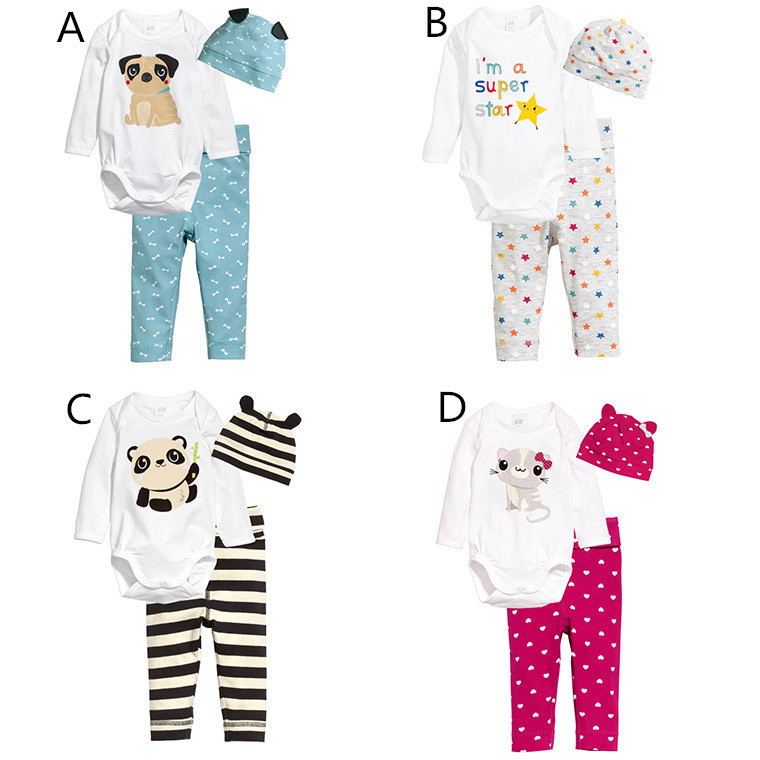 Baby Suit 2016 Autumn Outfit New Baby Girl and Boy Set Romper Children Cartoon Long Sleeved Jacket + Pants + Cap three sets(China (Mainland))