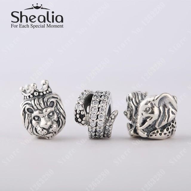Лето животные ювелирные комплект 925 чистое серебро лев змея Elephant подвески-талисманы комплект подходит браслет своими руками модное ювелирные изделия