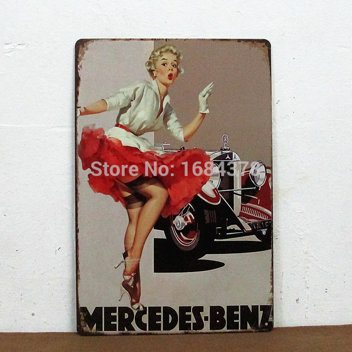 Beauty Mercedes Benz Girl Model Poster Tin Signs Garage Decor Decal New Arrived Sexy Girl Series 20X30cm 12743 Free Shipping(China (Mainland))