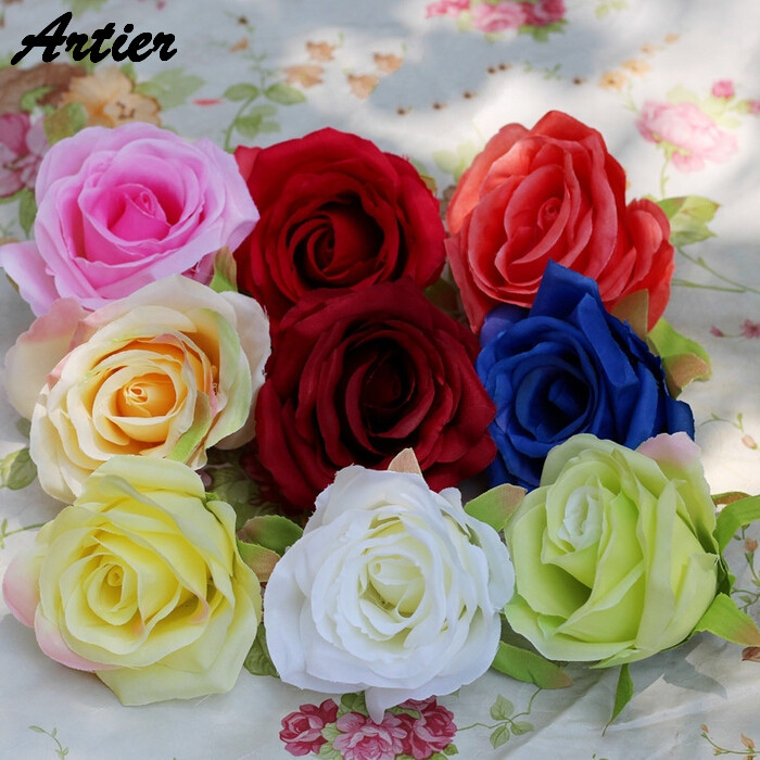 silk rose flower head 8 cm artificial big flowers for wedding home decor red blue white pink yellow green flowers head AJ0007(China (Mainland))