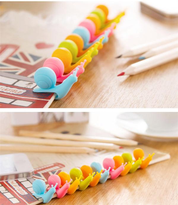 Randome Color!! 5 PCS Cute Snail Shape Silicone Tea Bag Holder Cup Mug Candy Colors Gift Set(China (Mainland))
