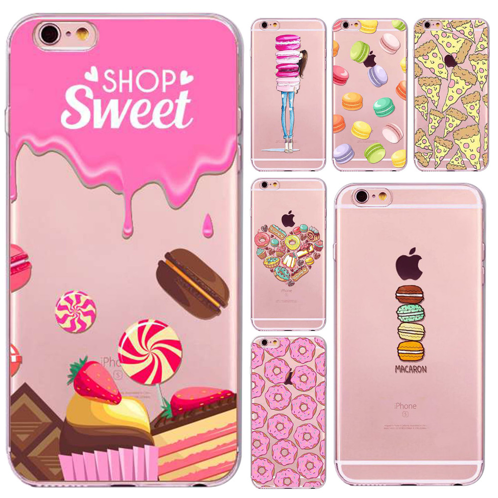 Case Cover For iphone 6plus/6splus 5.5 Inch Dessert Macaroon Ice cream Cupcake Soft Sillicon Clear Phone Case bag Accessory(China (Mainland))