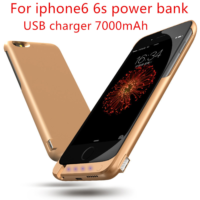 For Apple iPhone 6 Power bank Case 7000mAh External Portable Battery Backup USB Charging Case Cover For iPhone 6 s Battery Case(China (Mainland))