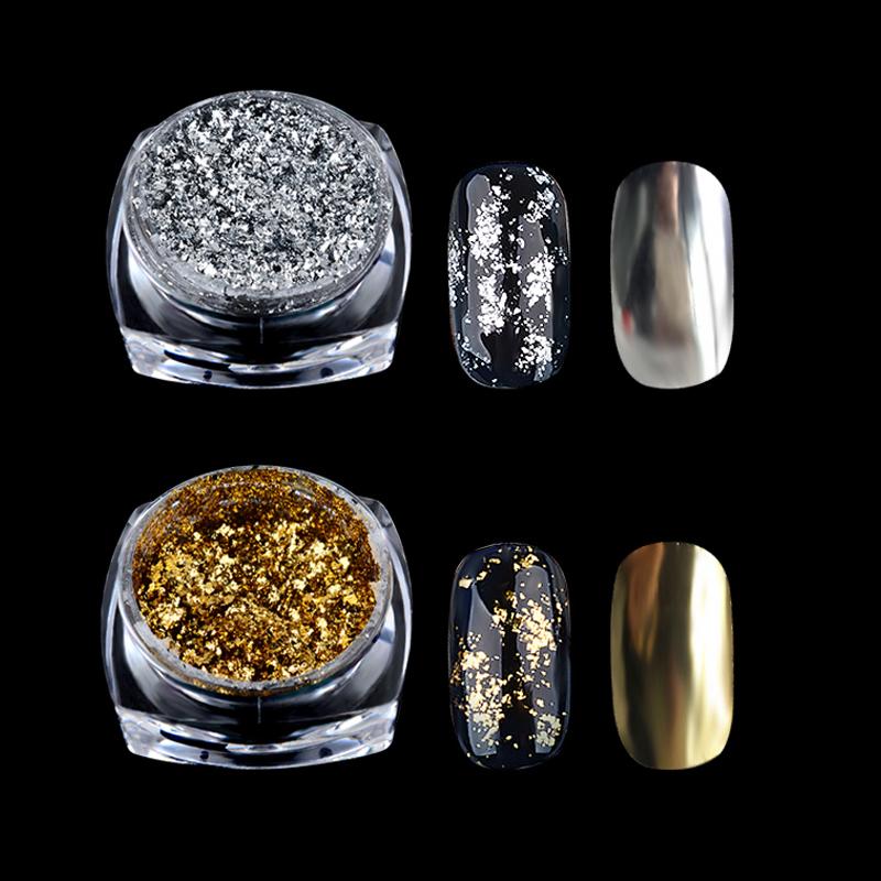 New 0.2g/Box Gold Silver Mirror Powder Aluminum Flake Nail Sequins Acrylic Nails Glitter DIY Nail Gel Polish Chrome Pigment Deco(China (Mainland))