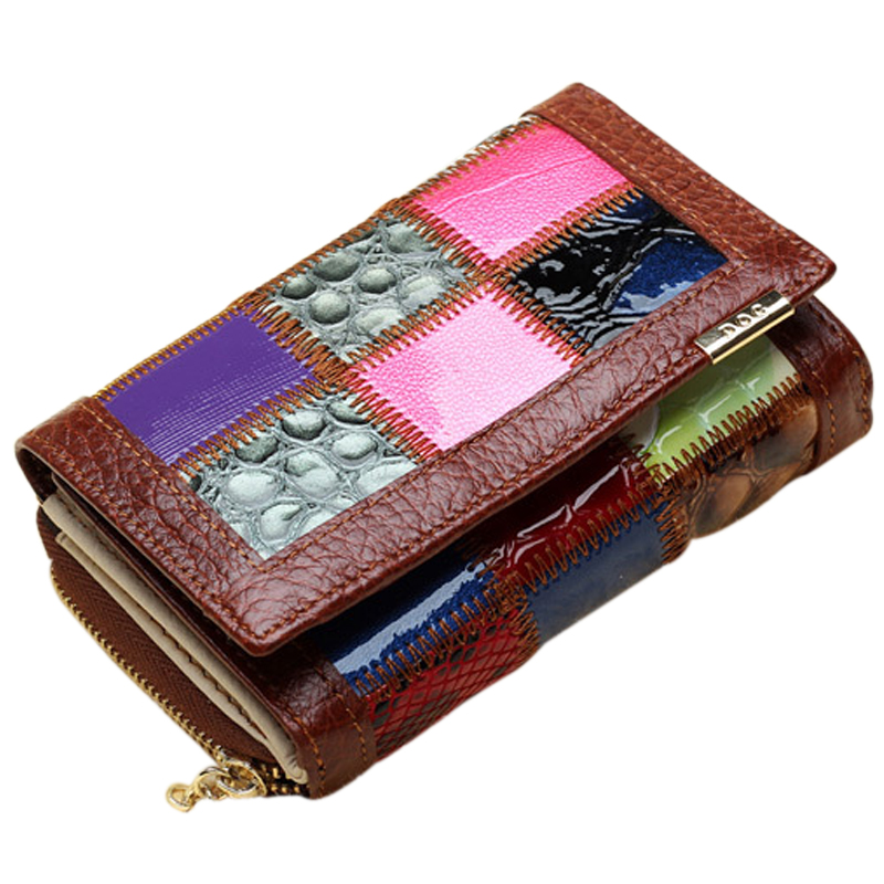 Free Shipping Fashion Casual Wallet Women Short Genuine Leather Wallet Patchwork Design Credit Card Wallet CX279