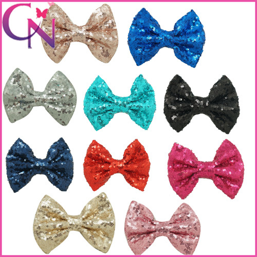 Boutique Childrens Sequin Hairbow Baby Girls Organza Hair Bow,Hair Clips For Fashion Girl 20pcs/lot Free Shipping CNHBW-1504182(China (Mainland))