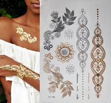Free shipping body art gold glittering jewelry tattoos waterproof temporary tattoo tattoo women fake flash metal arm