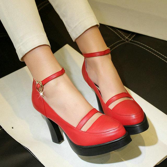 Фотография 2015 summer square high-heel women pump ankle strap Genuine Leather ladies Temperament shoes