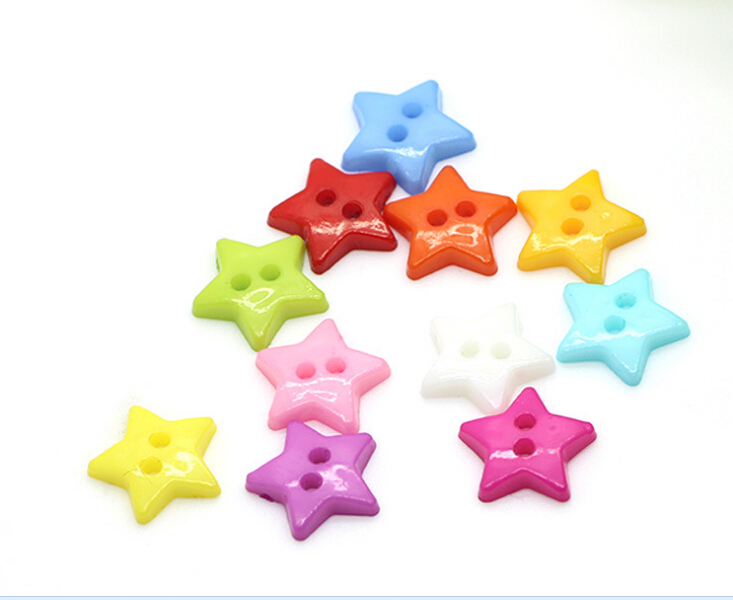100 pcs 2 Holes Mixed Resin Star Buttons Painted Design Decoration Clothing Accessories Sewing Buttons AE03104(China (Mainland))