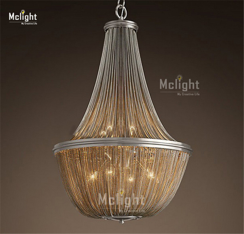 Post Modern French Chain Chandelier Light Fixture Empire Vintage Hanging Suspension Lustre Lamp Light Kroonluchter Chandeliers(China (Mainland))
