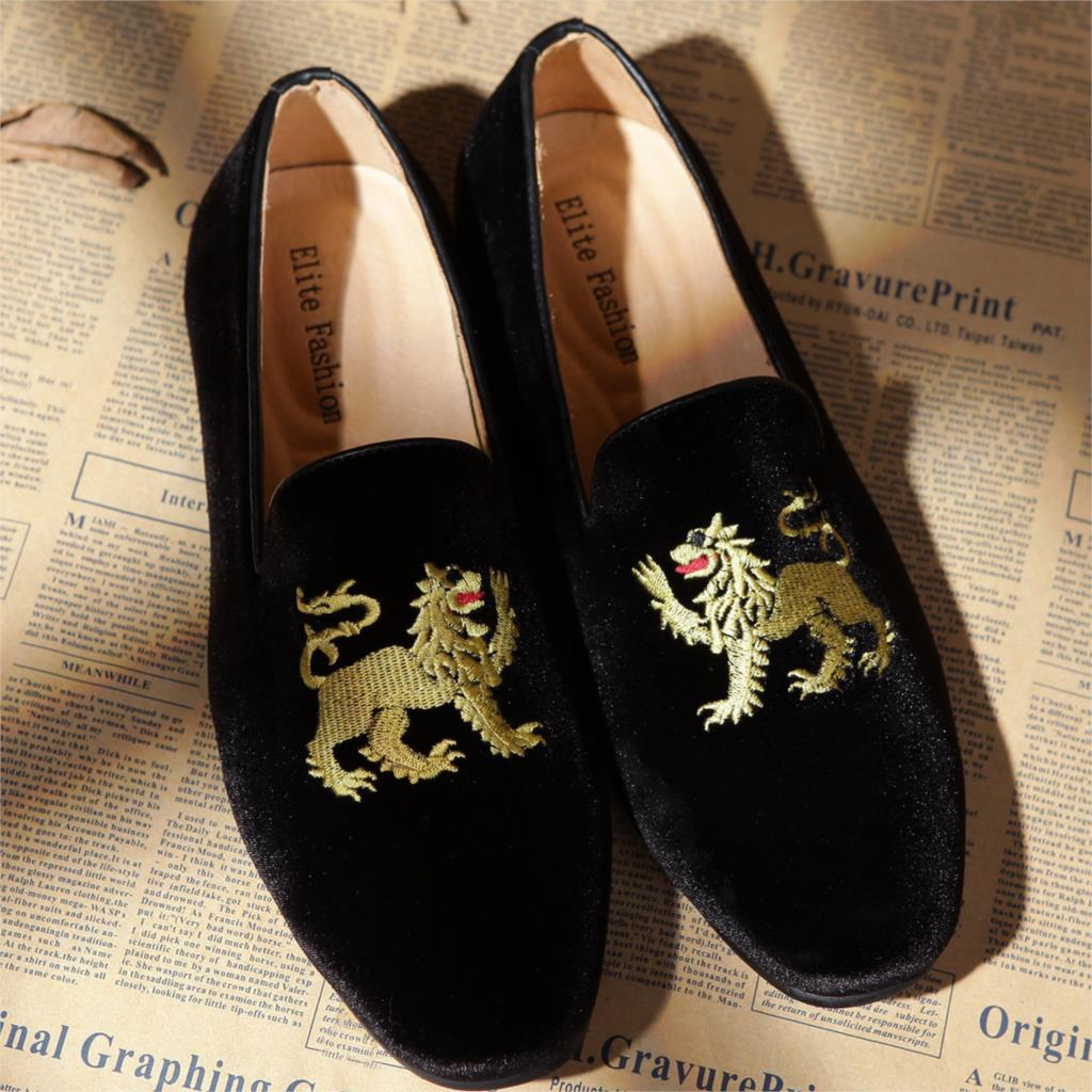 Monogram Men Loafers Black Velvet Slippers Shoes Size 8-12 Free Shipping