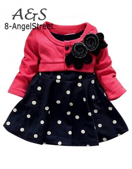 New summer 1-6 years child clothing children clothes corsage girl dress dresses baby Princess dress polka dot mock B11 SV005851<br><br>Aliexpress