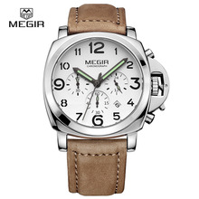 Fashion military lumimous quartz watches men analog casual chronograph waterproof leather wristwatch man top brand MEGIR 3406