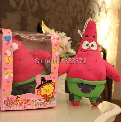 Free Shipping 18cm Voice Recorder Plush Toy Spongebob Stuffed Animal Patrick Star Cartoon Plush Talking Plush Toy Childrens Toys(China (Mainland))