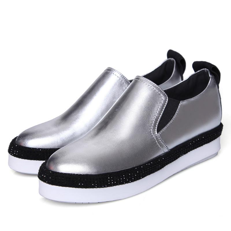 Фотография new women soft genuine full grain leather 4cm flat platforms heel single shoes 2016 black red silver round toe casual flats shoe