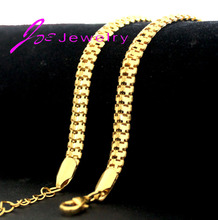 18K Real Gold Necklace 18K gold chain for Men fine jewelry New Trendy 2 Colors 7mm
