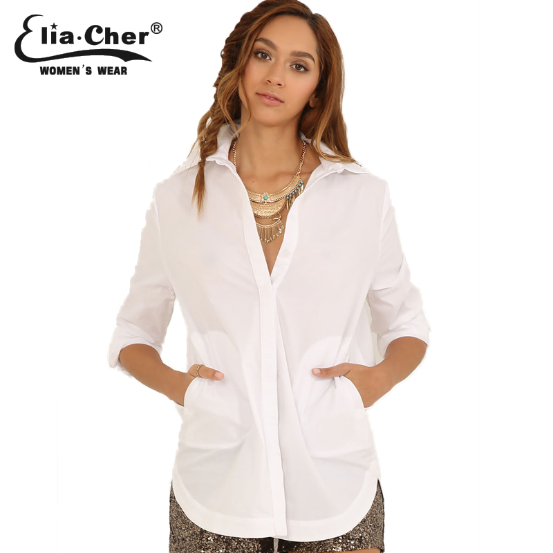 Blouse Women Tops Elia Cher Brand Fashion White Shirts with Pockets 2015 Plus Size Causal Women Clothing(China (Mainland))
