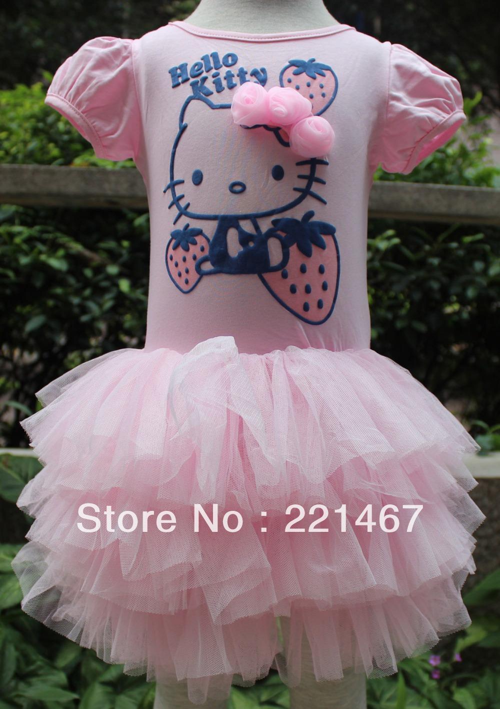 Retail new summer cartoon hello kitty girl dress girl dress high quality children's clothing a free shipping AH013(China (Mainland))