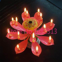 Romantic Flower Happy Birthday Blossom Lotus Musical Candle Party Gift Free Shipping(China (Mainland))