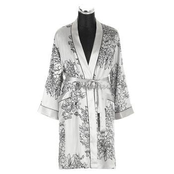 Mens Silk Kimono Satin Dressing Gown Mens Bathrobe Men Peignoir Homme Long Sleeve Satin Sleepwear M-XXL
