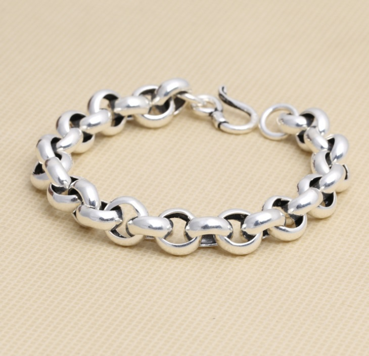 10mm Thick 925 Sterling Silver Bubble Vintage Chain Bracelet for Men Women 21cm<br><br>Aliexpress