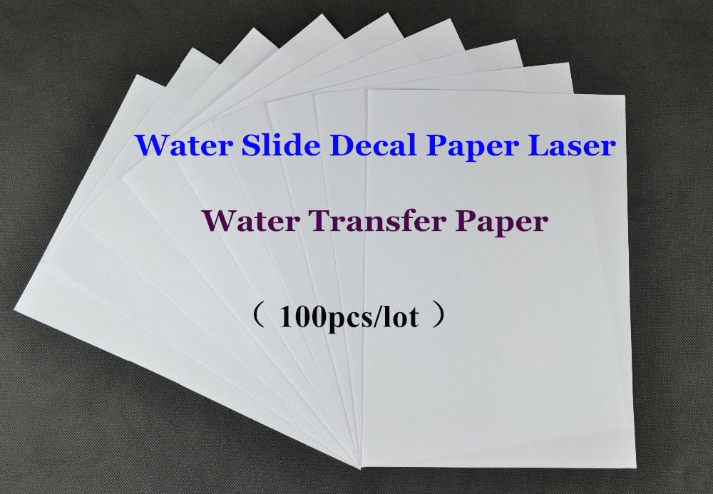 (100pcs/lot) Water Slide / Waterslide Decal Paper Laser Clear/Transparent Cheap Paper A4 Water Transfer Paper For Ceramic Mug(China (Mainland))