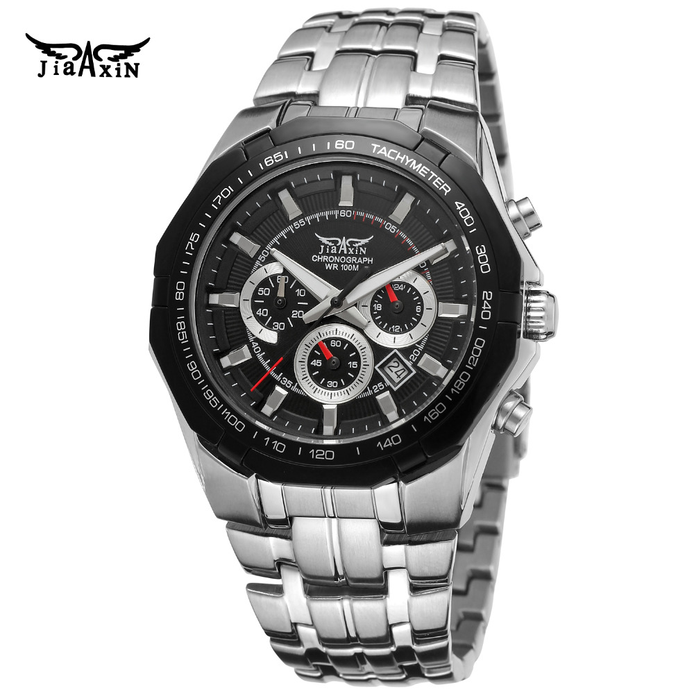 JIAXIN Mens Watch New Japanese Quartz Movt Multi-Function Stainless Steel Bracelet Chronograph Wristwatch Color Black JXG540M4 <br>