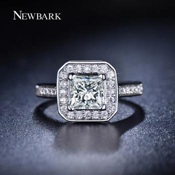 NEWBARK 18K White Gold Plated Women Ring 1.25 Carat AAA CZ Diamond Jewelry Princess Cut Fashion Rings For Women