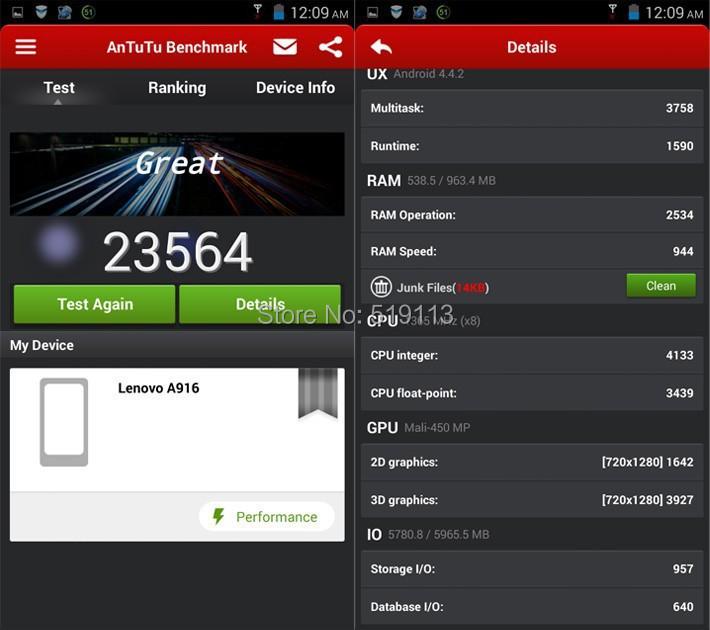 Телефон Lenovo A916, 4 G LTE мобильный сотовый 5,5
