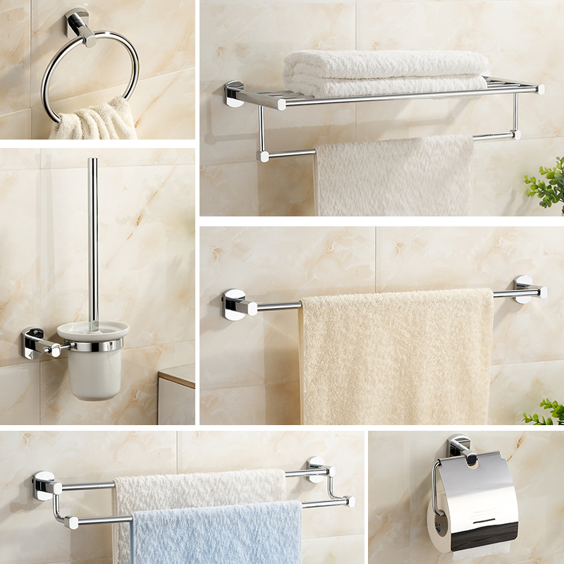 Copper Bathroom Hardware Sets Modern Chrome Finish Toilet Paper Holder/Cup Holder/Towel Bar/Robe Hook/Soap Ceramics Dish C-12300(China (Mainland))