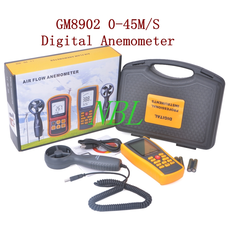 GM8902 0-45M/S Digital Anemometer Wind Speed Meter Air Flow Anemometer Temperature Humidity Tester With USB Interface <br><br>Aliexpress