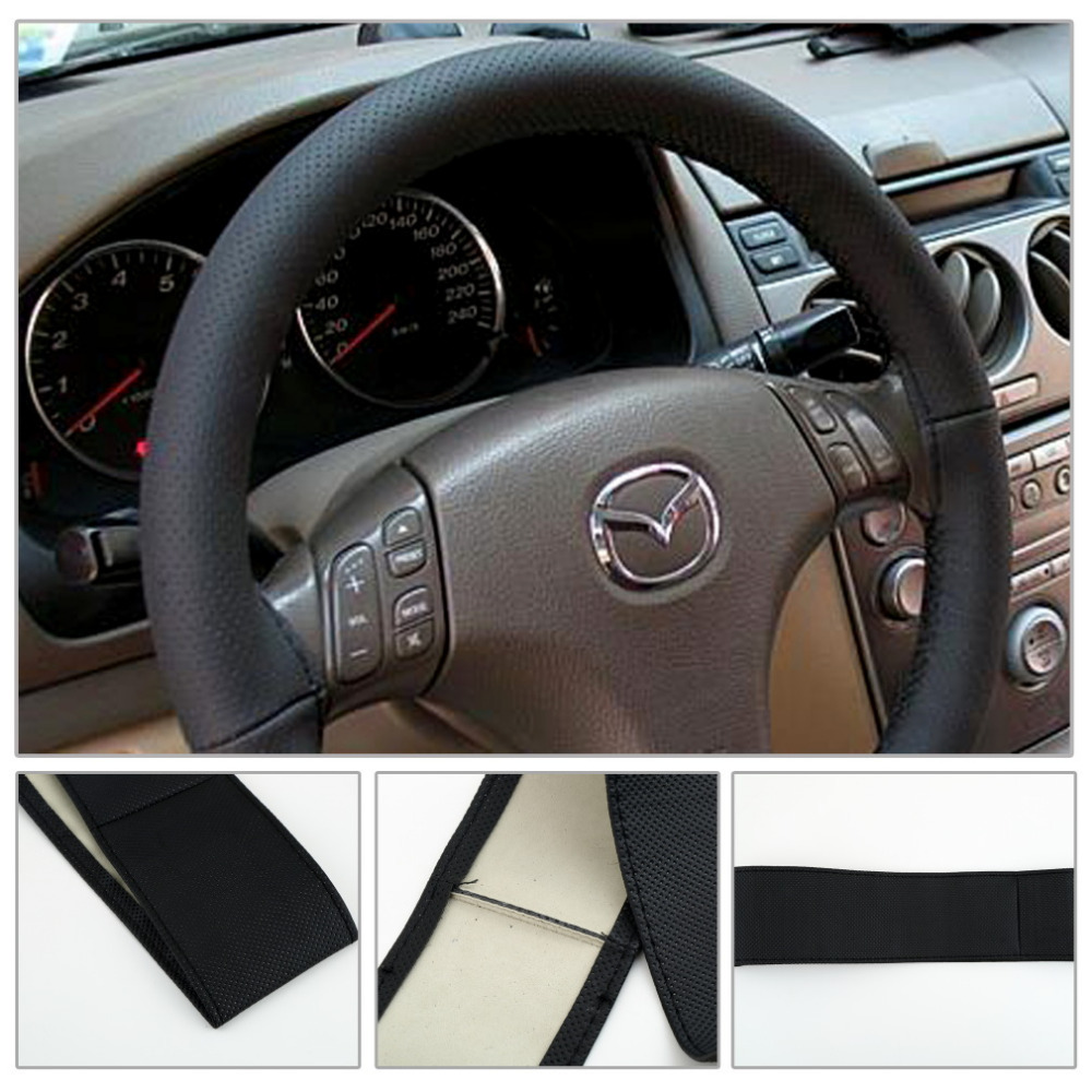 Гаджет  1pcs Black DIY Car Steering Wheel Cover With Needles and Thread Genuine Artificial leather free shipping None Автомобили и Мотоциклы