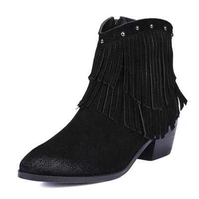 Фотография New 2015 Women Nubuck Leather Thick Heel Ankle Boots Fashion Ladies Winter Tassel Snow Boots Female Martin Boots Shoes H5908