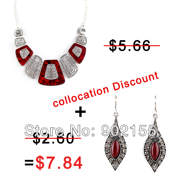New Fashion Design Red Imitation Rhinestone Alloy Vintage Necklace And Earrings Jewelry Sets For Women(China (Mainland))