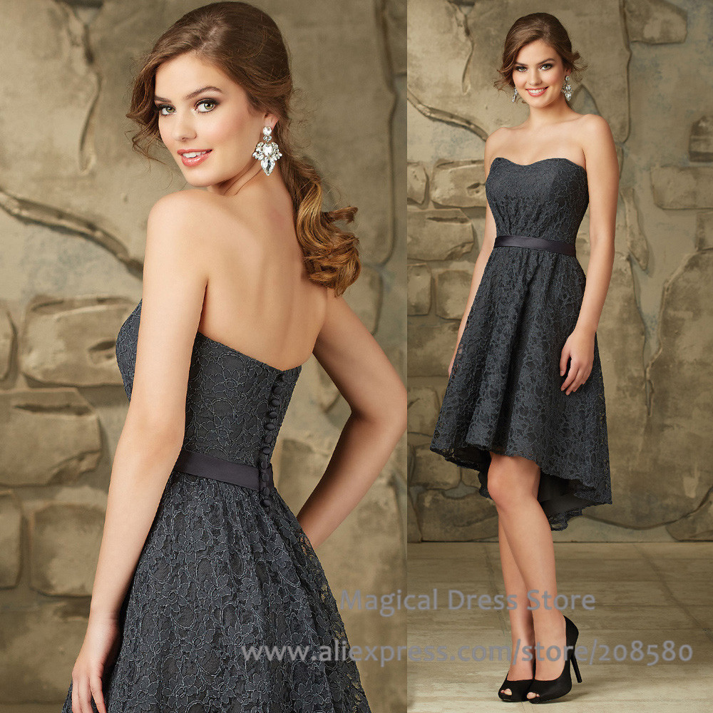 Popular dark grey bridesmaid dresses buy cheap dark grey for Grey dress wedding guest