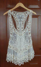 Lady Beige Vintage Hollow Out Crochet Cotton Floral Lace Mini Bohemian Dress Free  Vest Shipping(China (Mainland))