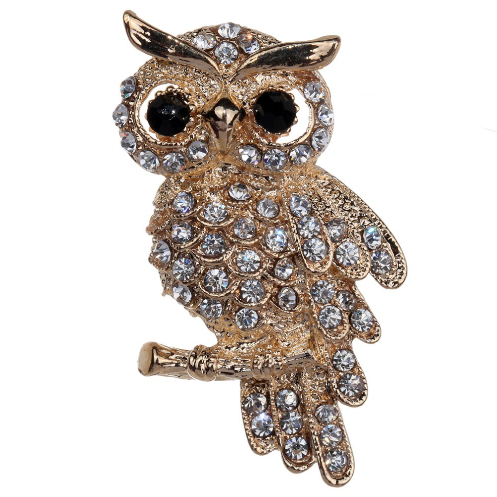 Fashion Gold Plated Owl Style Shiny Crystal Inlay Lady Jewelry Rhinestone Brooches For Weddings(China (Mainland))