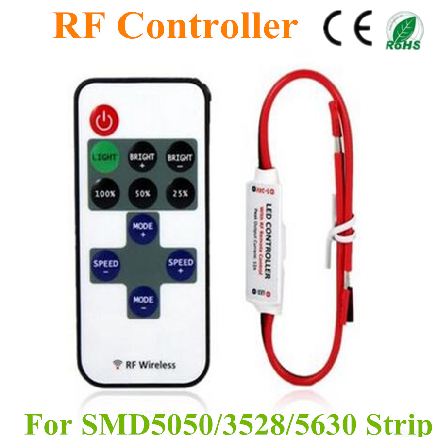 Mini RF LED Controller Single Color With Wireless Remote Control Mini Dimmer for 5050 / 3528 Led Strip Lights 5-24V(China (Mainland))