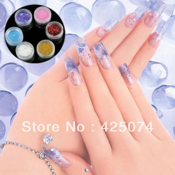 Set 72 Jar Mixed 6 Kinds Acrylic UV Gel Nail Art Glitter Powder(China (Mainland))