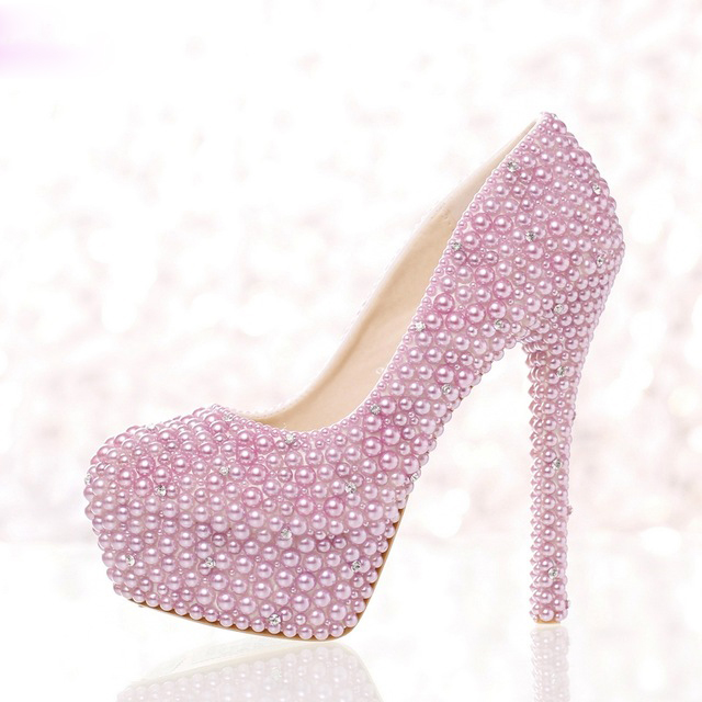 2016 Purple Pearl Wedding Pumps Silver Crystals Evening Party Shoes Round Toe Fashion Women Shoes Luxury Platform Party Shoes(China (Mainland))