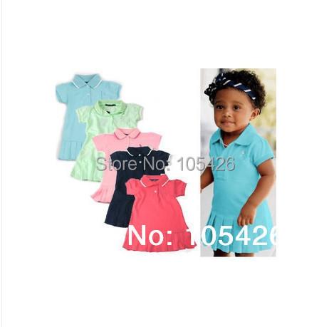 girls tennis dress,girls polo dresses,2014 summer brand dresses 100% cotton wholesale free shipping(China (Mainland))