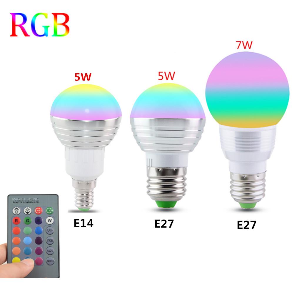 E27 E14 LED 16 Color Changing RGB Magic Light Bulb Lamp 85-265V 110V 120V 220V RGB Led Light Spotlight + IR Remote Control(China (Mainland))