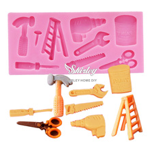 M143 Hot Selling FDA Good Quality Electric Power Tools Shaped Silicone Mold Sugar Paste 3D Fondant Cake Decoration(China (Mainland))