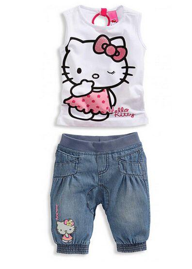 Children girl Summer style Sets girls shirts cadimidi ninjago Hello Kitty 2 piece set kids clothes family clothing set YAZ029(China (Mainland))