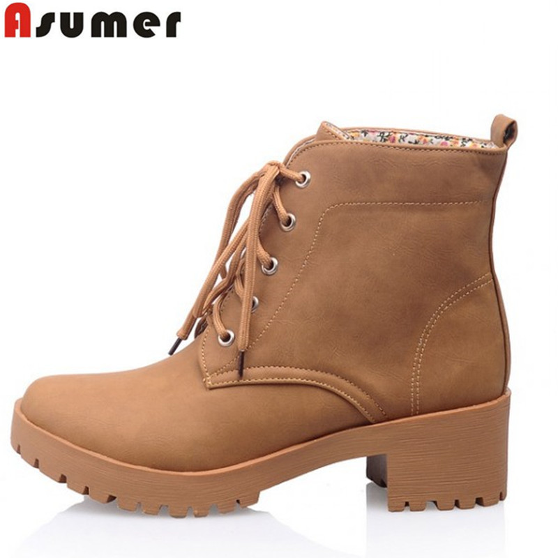 Гаджет  autumn and winter high quality fashion soft leather lace up ankle boots pink beige yellow round toe low heels women boots None Обувь