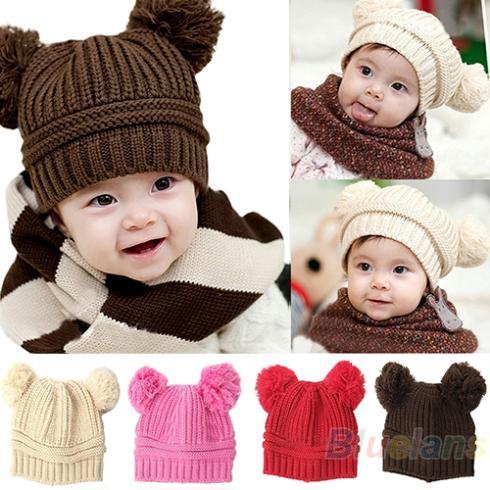 2013 Korean New Fashion Baby Girls Boys Kids Children Dual Ball Knit Sweater Cap Hats Winter Warm Knitted 04XC(China (Mainland))